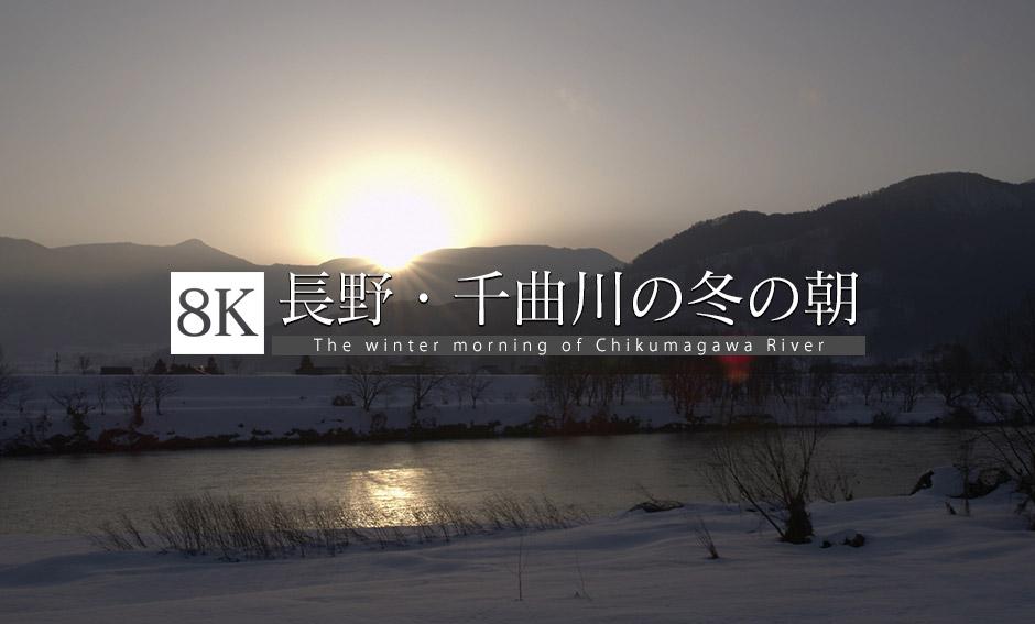 長野・飯山市 千曲川の冬の朝_8K