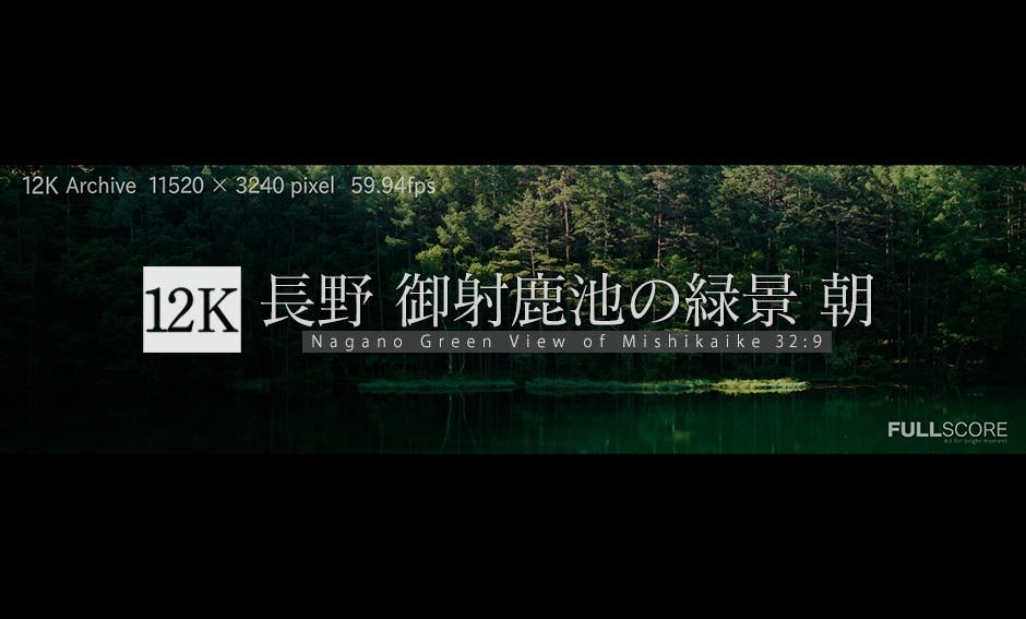 御射鹿池の緑景 朝12K_32:9